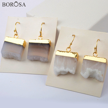 BOROSA Gold Natural Agates Druzy Dangle Earrings for Women Square Raw Geode Slice Drop Earring Jewelry Girls Gifts G1966-E borosa 4pairs gold silver bezel drop shape agates slice drop earring gems rainbow agates druzy slice earrings jewelry wx1176