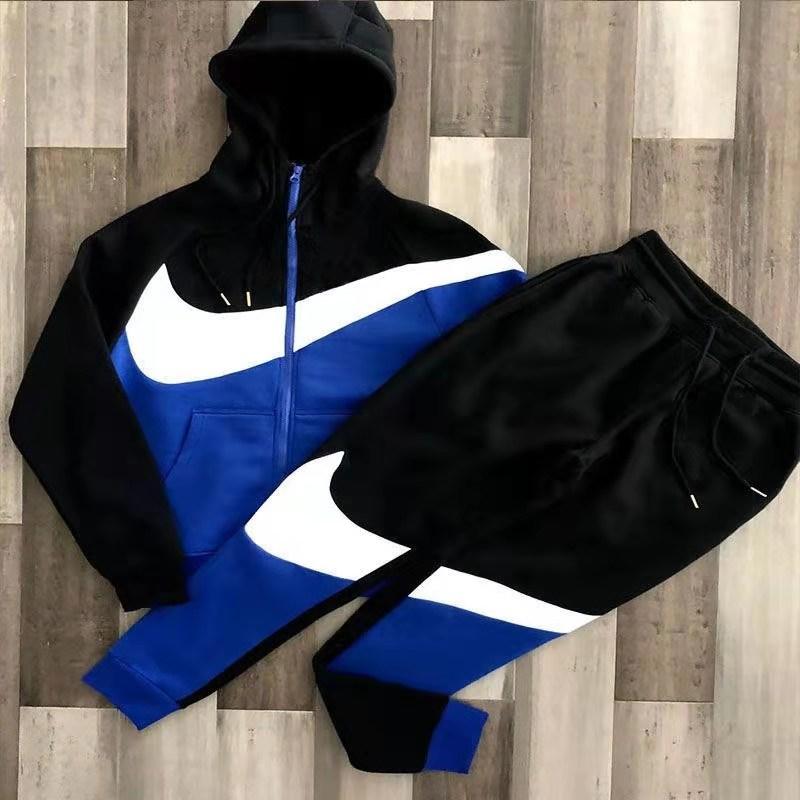 Spring New Men's Jacket + Pants Two Piece Hip-hop Street 2021 Patchwork Men's Casual Hoodie Set