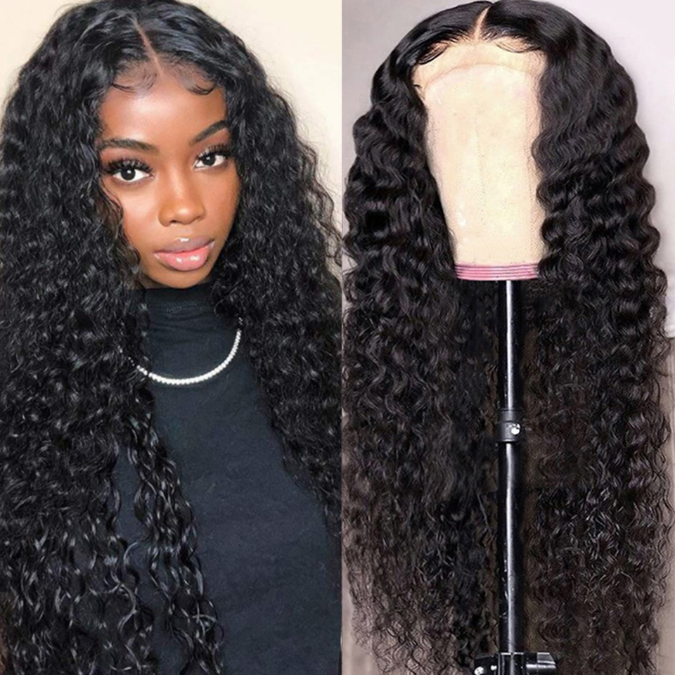 Peruvian Deep Wave Lace Front Human Hair Wigs Natural Transparent Lace Frontal Wigs Pre Plucked Hairline Remy Hair For Women