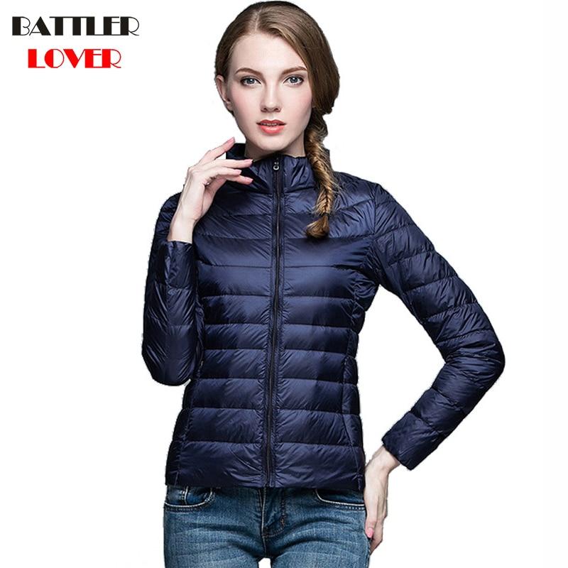 2019 Winter Women Ultra Light Down Jacket 90% Duck Down Stand Collar Jackets Long Sleeve Warm Coat Parka Female Portabl Outwear