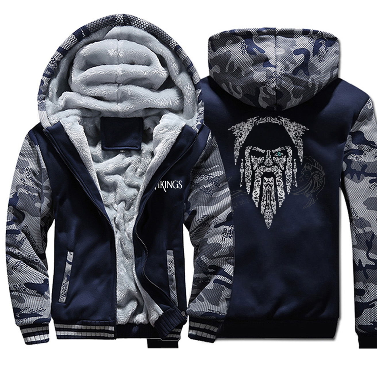 2019 Winter Camouflage Thicken Men Hoodies Odin Vikings Printing Male Brand Jackets Casual All-match Stylish Clothing Streetwear
