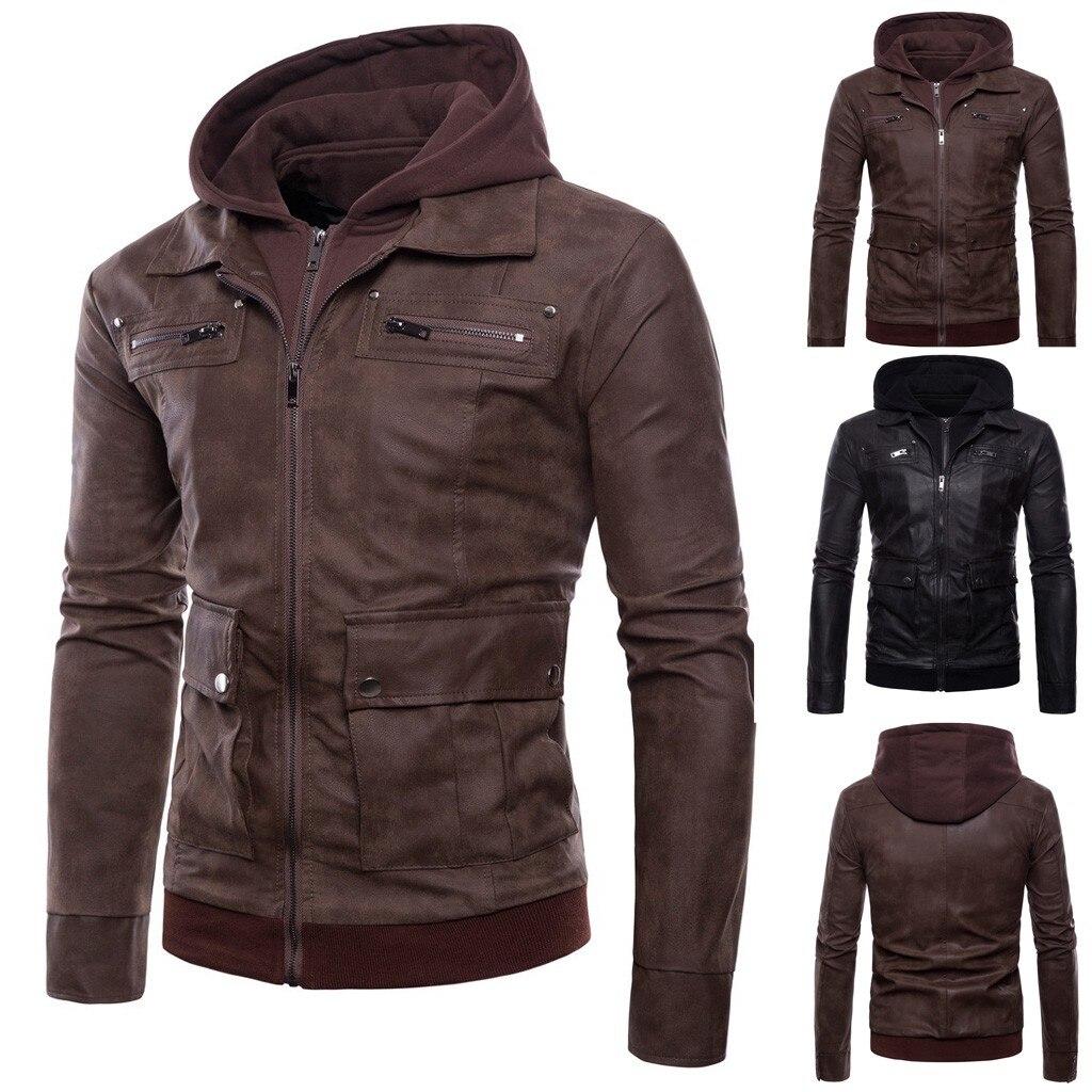 Jacket Coat Outwear Hoodie Biker-Motorcycle Autumn Winter Support Zipper Men
