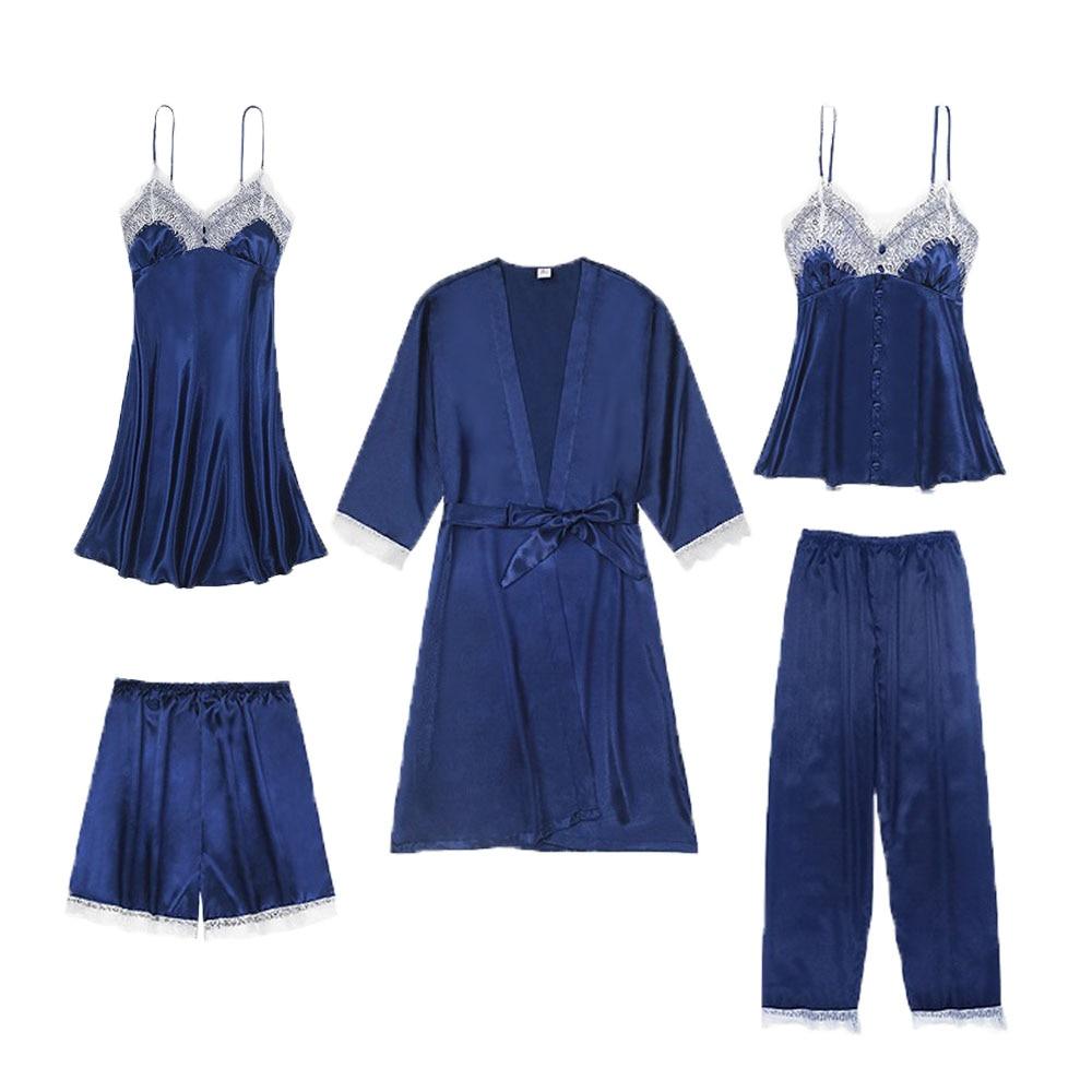 Pajama Set Sexy Women Nightwear Shorts Halter Top Pants Home Suit Satin Silk Pyjama Ladies Sleepwear Silky Lace Plus Size Pijama