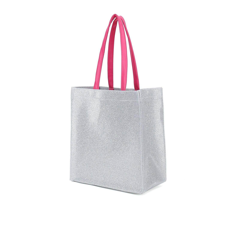 Bolsa tote pequena prata metálica com punho redondo rosa do falso