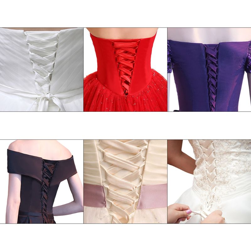 118Inch Wedding Dress Zipper Replacement Adjustable Corset Back Kit Lace-Up Satin Ribbon Ties For Bridal Banquet Evening Gown