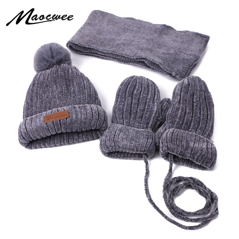 Children Winter Pom Hat Scarf Gloves Sets Outdoor Thick Warm Mittens Cap Scarf Sets Kids Cute Solid Color Beanie Hat With Lining