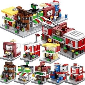 Toy Blocks Mini City Street Building Blocks Coffee Shop Hamburger Store City Diy Bricks Toys Compatible Blacks For Children Gift