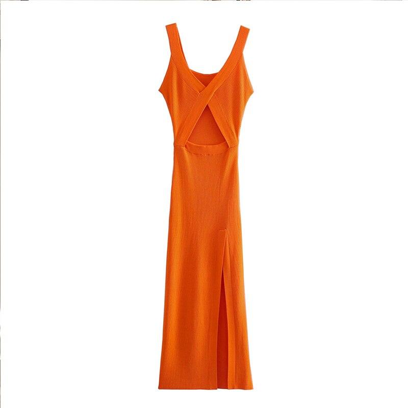 Dress Za fashion simple stretch tight V-neck hollow women dress 2021 summer new style 100% cotton chic street party Dress women 4