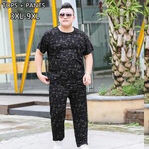 Image 4 - Sommer Mann Kleidung Set 2 Zwei Stück Top und Hosen 2019 Trainingsanzug Männer Sets T Shirt Plus Größe 6XL 7XL 8XL 9XL Sport Herren Camiseta