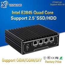 Yanling горячая Распродажа, четырехъядерный мини-сервер Intel Celeron E3845, 4 порта Lan, маршрутизатор Pfsense для ПК, компьютера, поддержка 2,5-дюймового жест...