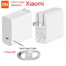 цена Original Xiaomi 45W charger Mi 65w USB-C Output Rate Socket Power adapter Type-C Port USB PD 2.0 Quick Charge QC 3.0   Type C онлайн в 2017 году
