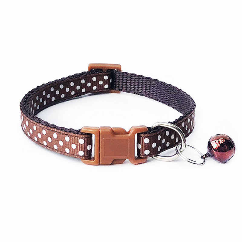 Nylon z dzwonkiem zwierzątko śliczne moda okrągły nadruk w kropki pies kot szczeniak urok regulowany piękny obroże bezpieczeństwa 1PC nowa klamra