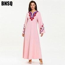 Арабское мусульманское платье платья абайя вышивка марокканский кафтан Мода скромное платье для вечернего платья розовый