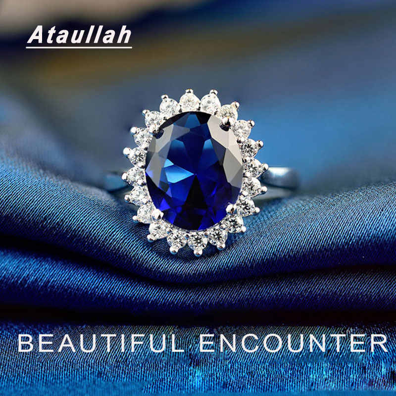 Ataullah księżna diana William Kate niebieski szafir pierścionki srebro 925 pierścionek z kamieniem elegancka biżuteria zaręczynowa dla kobiety RW089