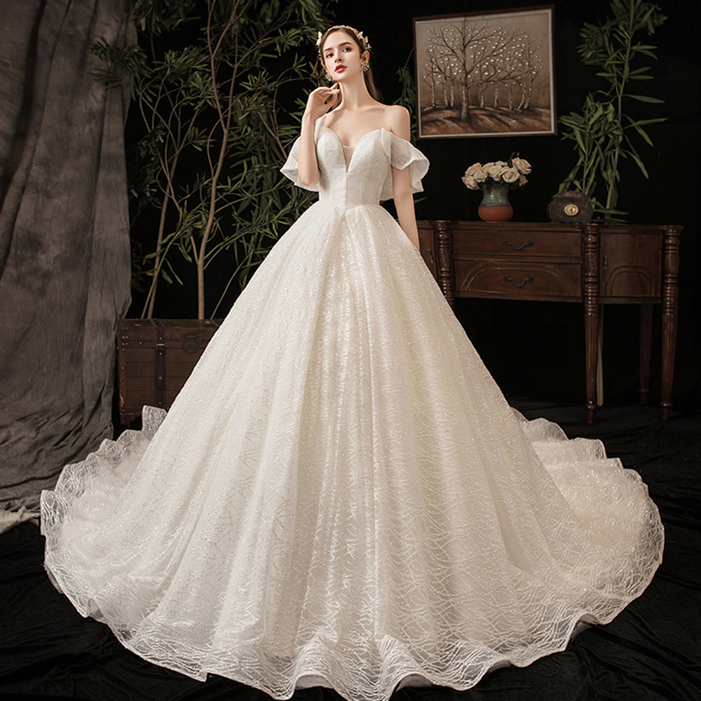 Custom Made Shiny Wedding Dresses Plus Size Alibaba China Abito Da Sposa Sweetheart Neck Short Sleeve Sparkly Bridal Gowns