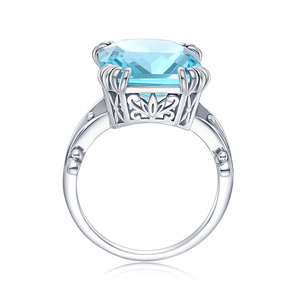 Image 5 - Szjinao Real 925 Sterling Silver Aquamarine Rings For Women Sky Blue Topaz Ring Gemstones Silver 925 Jewellery Christmas Gift
