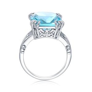 Image 5 - Szjinao gerçek 925 ayar gümüş akuamarin yüzük kadınlar için Sky Blue Topaz yüzük taşlar gümüş 925 takı noel hediyesi