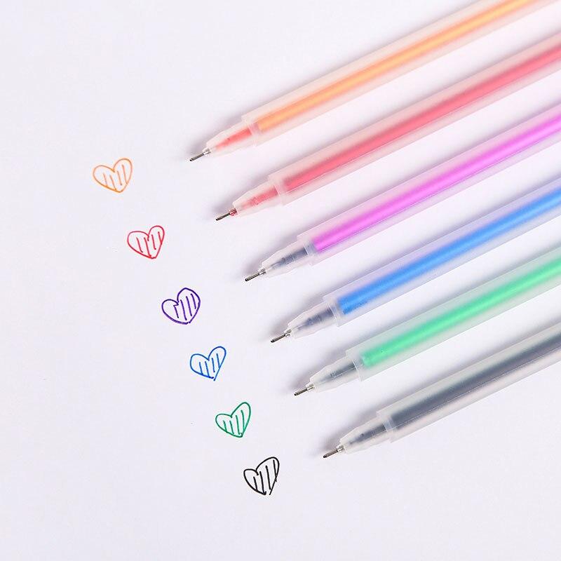 kawaii gel pen transparent 0.5mm frosted watercolor pen Colored Gel Pen neutral pen Girls Painting Pen StationeryWriting Supplie