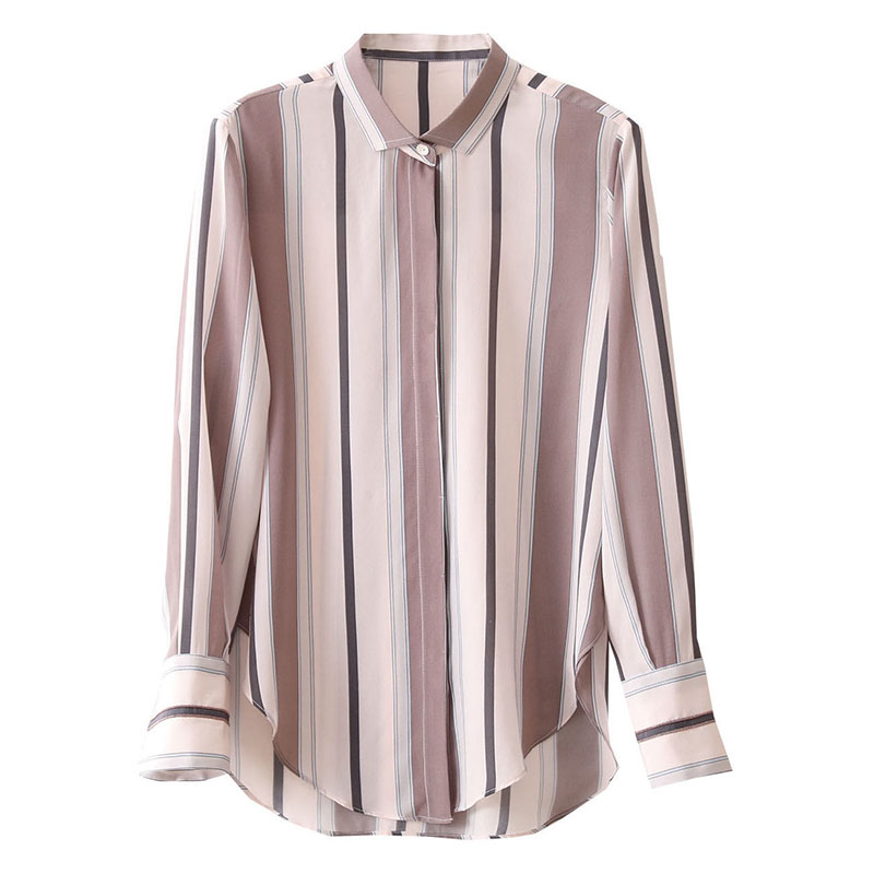 Spring Autumn Style Women Chiffon Blouses Shirts Lady Office Work Wear Stand Collar Striped Printed Blusas Tops DD8953 6
