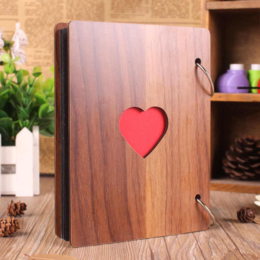 6 بوصة ألبوم صور نمو الطفل غطاء خشبي الأسرة الذاكرة التذكارية الحرفية سجل الذكرى DIY بها بنفسك الهدايا زخرفة قلوب الحب
