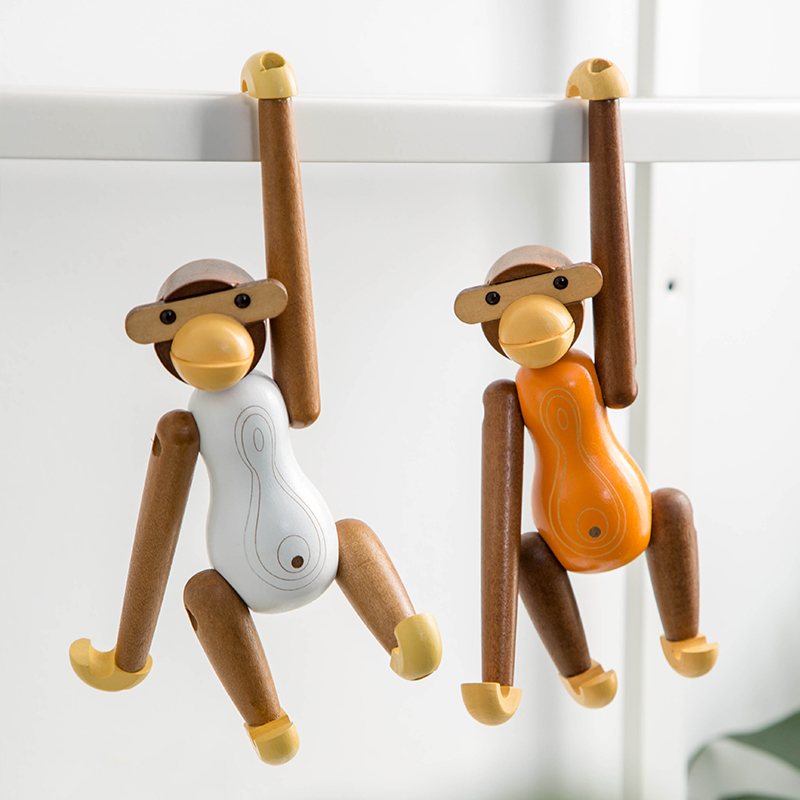 Creative Wooden Monkey Model Hanging Decorations Miniature Garden Figures Children's Room Decoration Love Gift Boy's Gift Souven