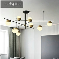 Modern Chandelier Light Glass Lampshade and Iron Holder E27 LED Bulb Included for Bedroom Living Room Dining Room Hanging Lamp