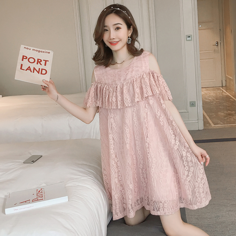 652# Sweet Lace Maternity Dress Summer Korean Fashion Loose Clothes for Pregnant Women Shoulder Off Lovely Pregnancy Clothing