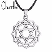 Chandler Flower Star of David Pendant Necklace For Women Men Viking Amulet Jewelry Accessories With Black Silver Hexagon Charm(China)