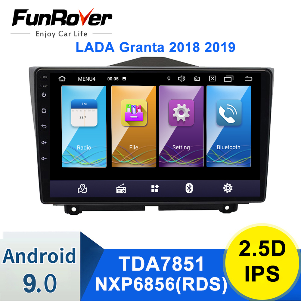 Funrover For LADA Granta 2018 2019 2din android 9.0 Car Radio Multimedia Player autoradio GPS Navigation 2.5D IPS dvd dsp rds image