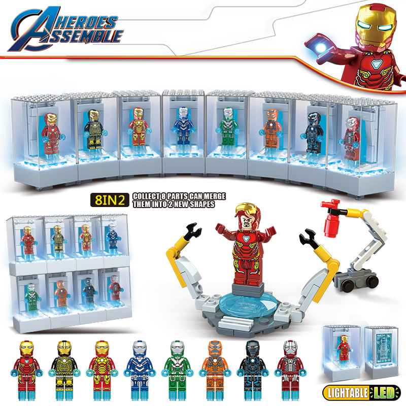 Led Light Kit Marvel Avengers Endgame Super Heroes Iron Man Figures Building Blocks Display With Legoed Bricks Toys For Children