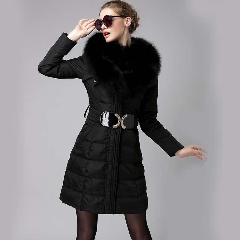 2020 European Winter Down Jacket Woman Hooded Big Thick Fox Fur Collar Long Coat Women's Jackets Parka Camperas KJ723