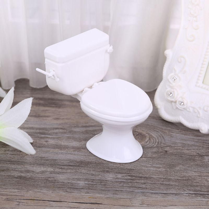 Dollhouse Miniature Furniture Vintage Bathroom Modeling White Toilet Baby Pretend Toys Dolls Accessories