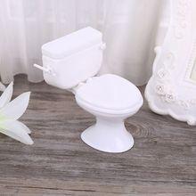 Casa de muñecas miniatura muebles Vintage baño modelado blanco inodoro bebé juguetes de simulación muñecas Accesorios