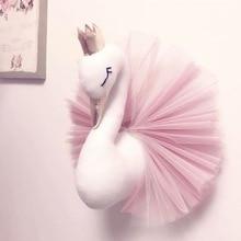 Голова Животного лебедь декор Фламинго Настенное подвесное крепление плюшевая игрушка принцесса кукла девочка ребенок подарок Детская комната Настенный декор