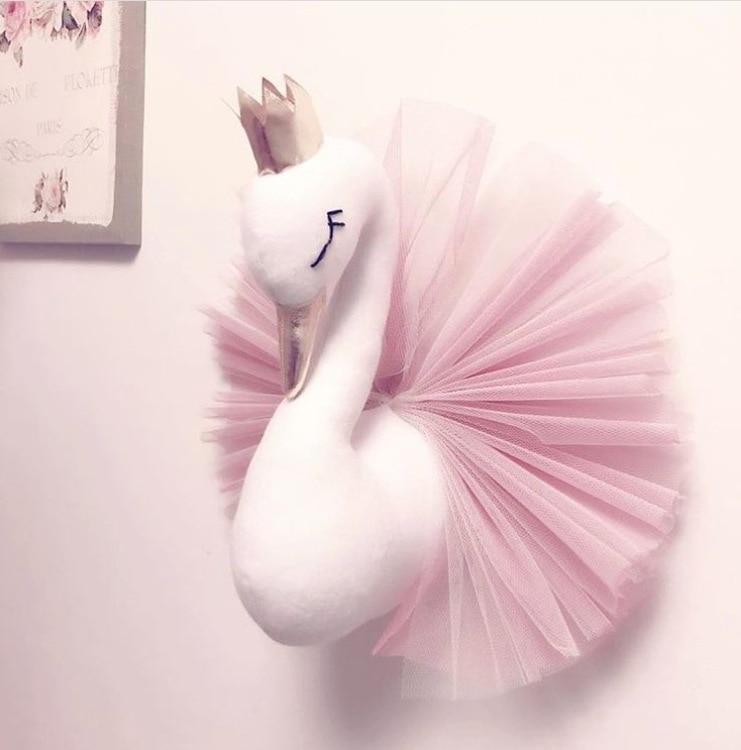 Animal Head Swan Decor Flamingo Wall Hanging Mount Stuffed Plush Toy Princess Doll Girl Baby Kid Gift Nursery Room Wall Decor