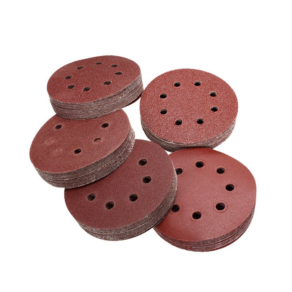 100PCS 5inch/125mm Round Sandpaper Polishing Disk 8 Hole Sand Sheets 40-240 Grit Sanding Disc For Polishing Cleaning Tool