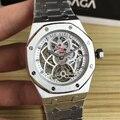 Luxe Merk Nieuwe Mannen Roestvrij Staal Automatische Mechanische Sapphire Horloge Zilver Rose Goud Tourbillion Skeleton Royal Oaks Glas