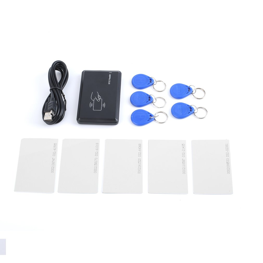 USB 125Khz RFID EM4305 T5567 Card Reader/Writer Copier/Writer Programmer Burner + 5 ID Key Buckles + 5 ID Cards Rfid Reader