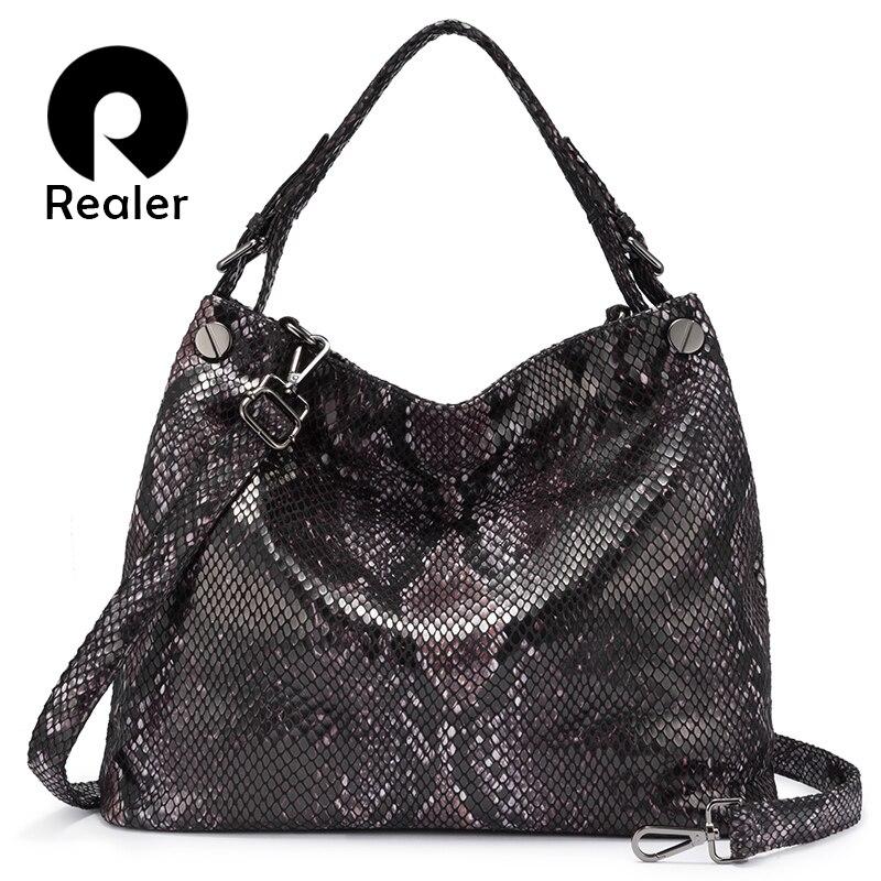 REALER Female Handbag Luxury Handbags Women Bags Designer Shoulder Bags For Ladies 2019 Serpentine Pattern PU Leather Large Hobo