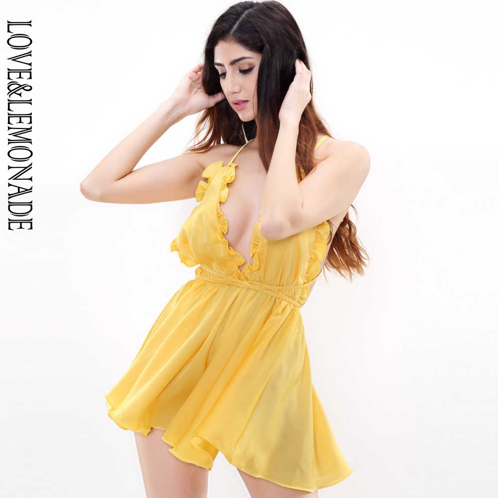 Aşk ve limonata sarı Ruffled v yaka Playsuits TB 9119