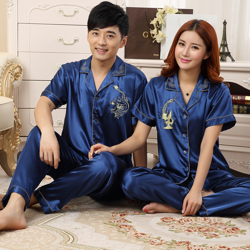 And Summer Men's And Women's Dragon And Phoenix Couple's Silk Pajamas Silk Extra Large Short Sleeve Home Clothes Thin
