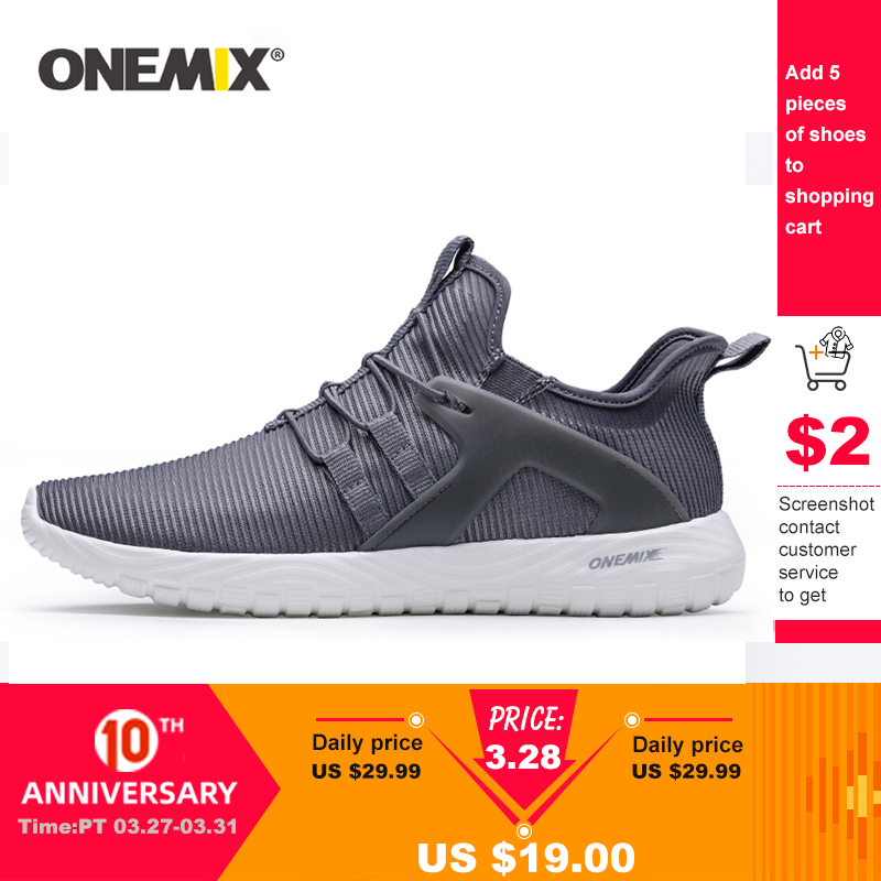 ONEMIX 2020 Men Running Shoes Women Sneakers Lightweight Breathable Mesh Soft Slip On Outdoor Jogging Walking Tennis Sport Shoes