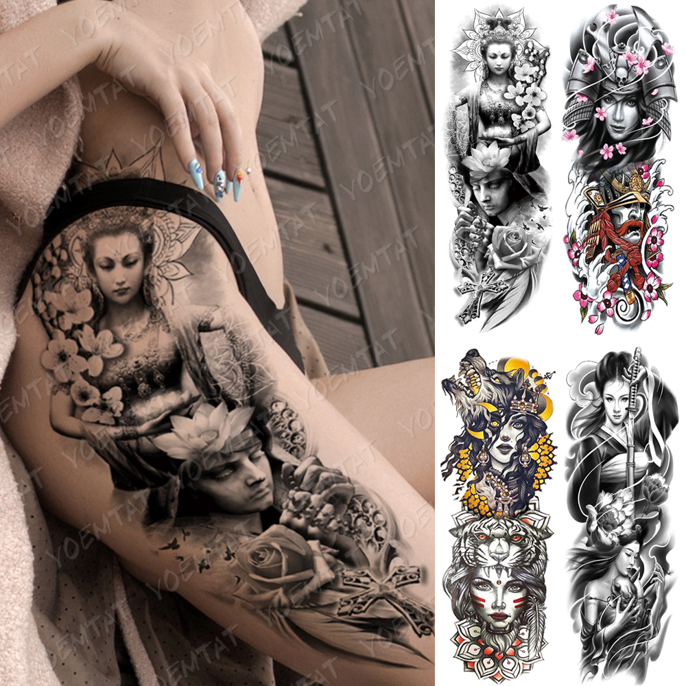 Large Arm Sleeve Tattoo Buddha Geisha Waterproof Temporary Tatto Sticker Samurai Flower Waist Leg Body Art Full Fake Tatoo Women
