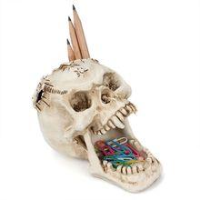 Skull Head Ornament Skeleton Pen Holder Desktop Pencil Organizer Makeup Storage