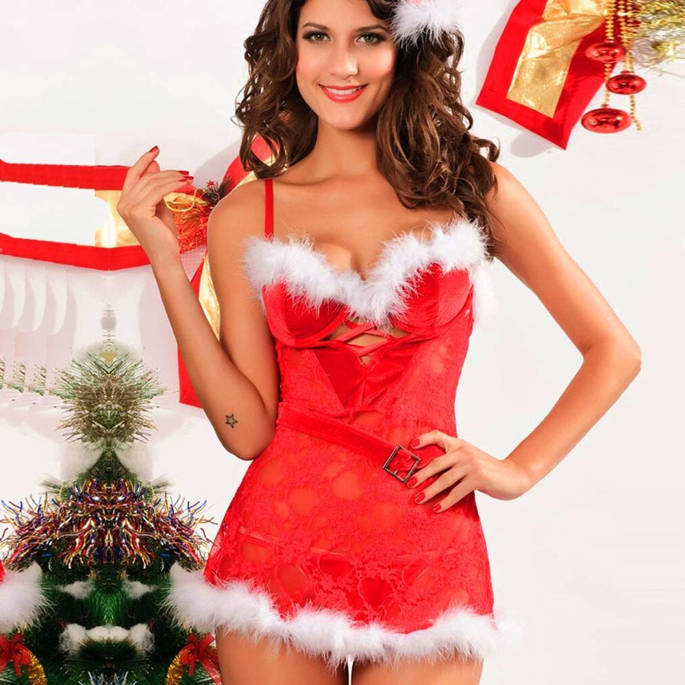 Christmas Sexy Women Lingerie Underwear Temptation Briefs Panties Costume Cosplay Women Fancy Dress Sets Sleepwear Slipdress  J3