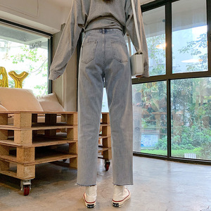 Image 4 - Jeans Women Vintage Simple Girls Korean Style Casual Womens All match Trousers Ankle length Harajuku High Quality Loose Fashion