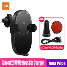 Оригинальное беспроводное автомобильное зарядное устройство Xiaomi Mi 20W Max Qi WCJ02ZM с интеллектуальным инфракрасным датчиком и держателем для телефона