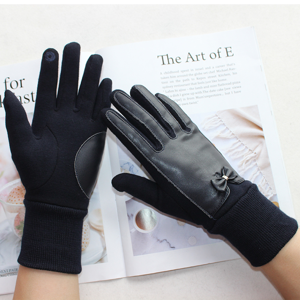 New Products Ladies Short Cotton Gloves Fashion Color Touch Screen Stitching Butterfly Festival Gloves