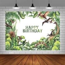 Avezano Tropische Bos Dinosaurus Fotografie Achtergronden Birthday Party Cake Smash Decor Portret Achtergronden Voor Foto Studio