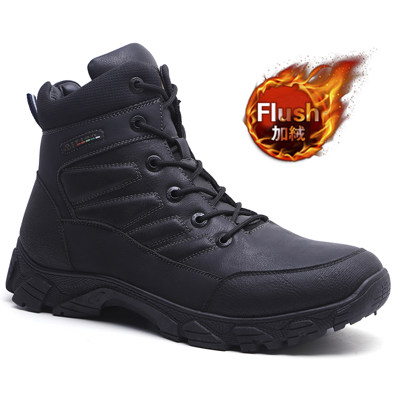 KUNCHI 2019 New Men Boots Winter Outdoor Sneakers Mens Snow Boots Keep Warm Plush Boots Plush Ankle Snow Work Casual Shoes